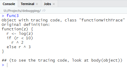 trace function in R